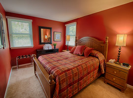 one of many rooms in the Maple Lodge - lodging options for groups at Byrncliff Golf Resort & Banquets