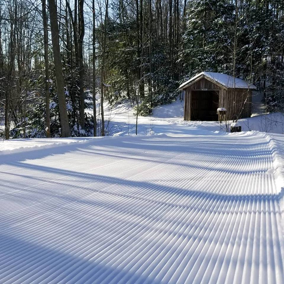 A xc ski trail at Byrncliff Resort