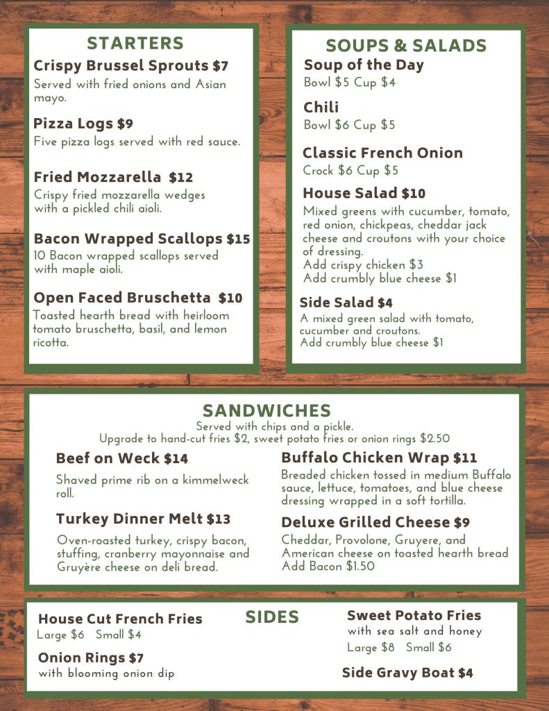byrncliff restaurant menu