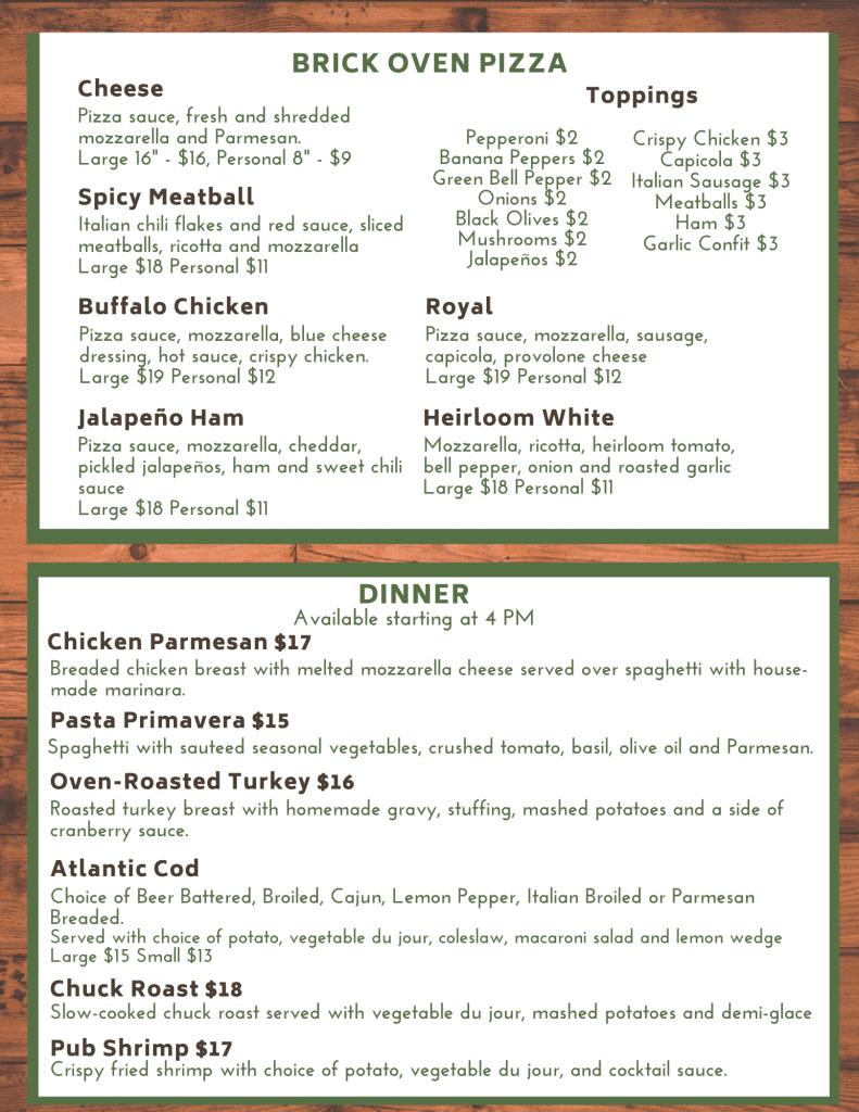 byrncliff golf resort and banquet menu