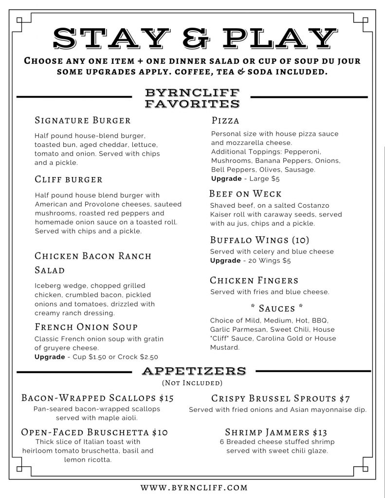 Stay and Play Golf Restaurant Menu Byrncliff