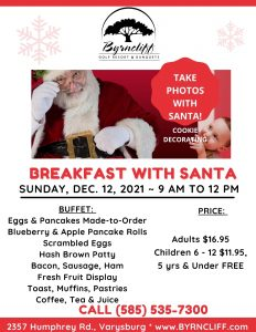 Photos with Santa at Byrncliff Sunday Dec 12th 2021